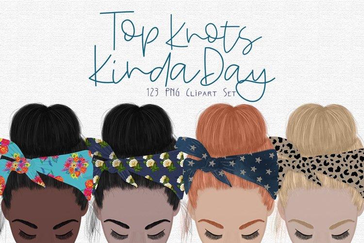 Top Knots Clipart Set example image 1