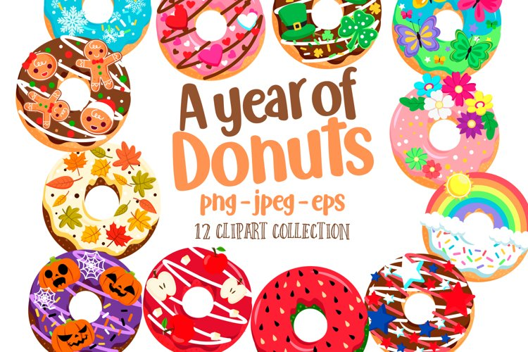 A Year of Donuts Clipart Set