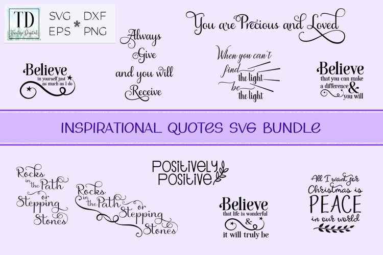 Inspirational Quote Bundle, Positive Sayings Cut Files