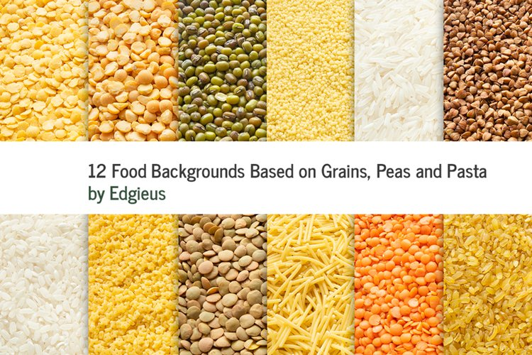 12 Food Backgrounds Based on Grains, Peas and Pasta