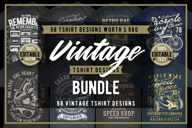 98 Vintage Tshirt Designs Bundle