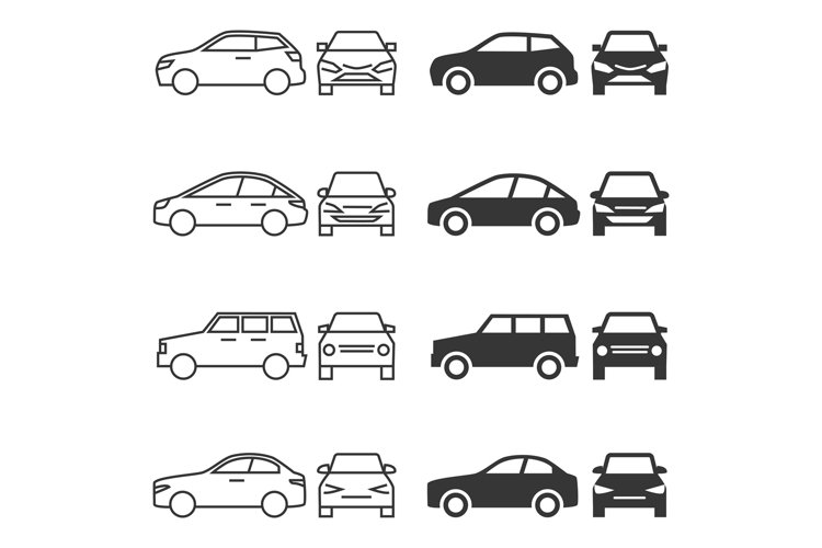 Front and side car - line and silhouette cars isolated on wh example image 1