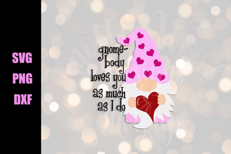 Valentine SVG - Gnome Valentine - Downloadable PNG, DXF, SVG example image 1