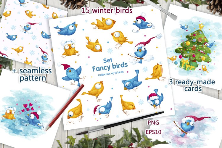 Fancy winter birds. Stickers, clipart. example image 1