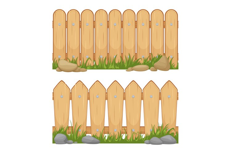 Seamless horizontal backgrounds with wooden fences. Vector c example image 1