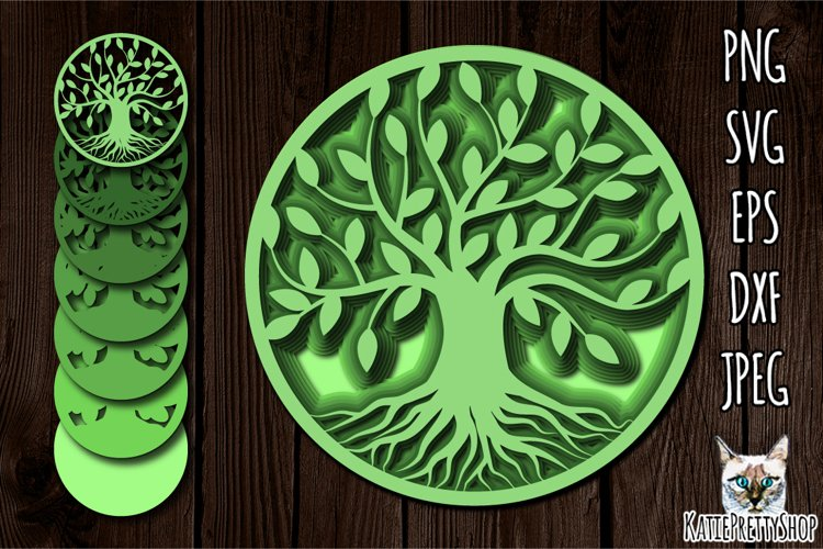 3D Layered Tree of Life SVG, Multilayered, lazer cut file.