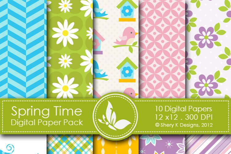 Spring Time Paper Pack - 10 printable Digital Scrapbooking papers - 12 x12 - 300 DPI