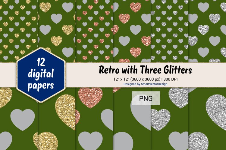 Hearts Retro with Three Glitters Color Combo #38 example image 1