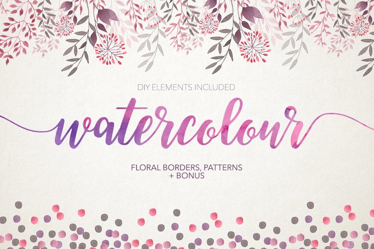 Watercolour floral borders& patterns example image 1