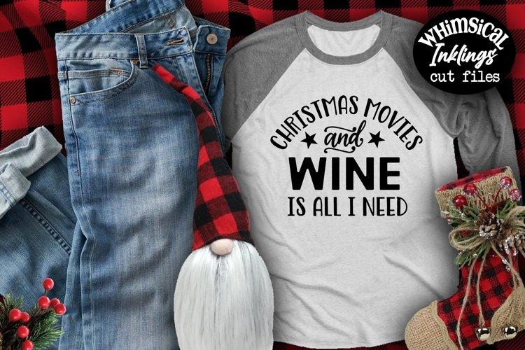 Christmas Movies And Wine SVG
