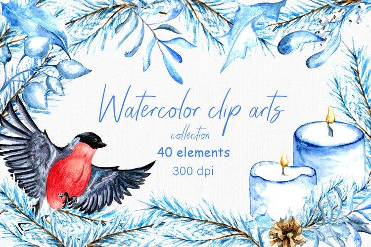 Watercolor winter clip arts. 40 elements, PNG 300dpi example image 1