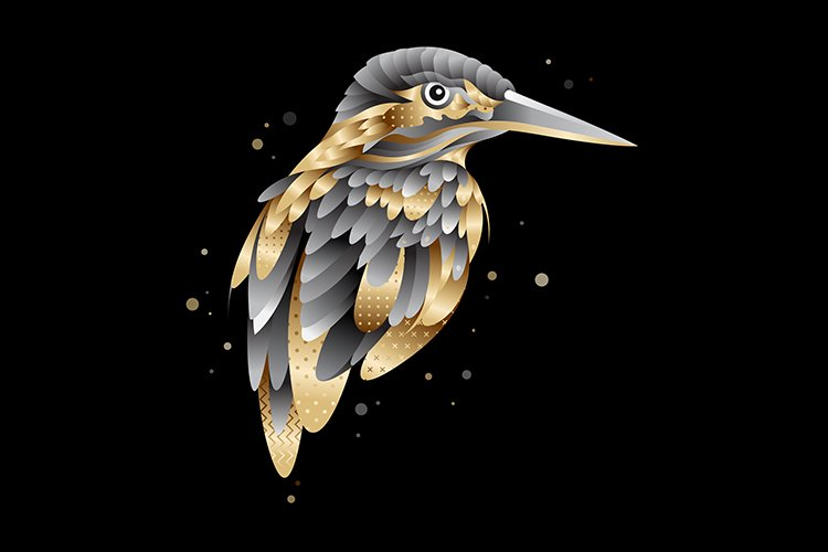 Royal golden kingfisher bird illustration example image 1