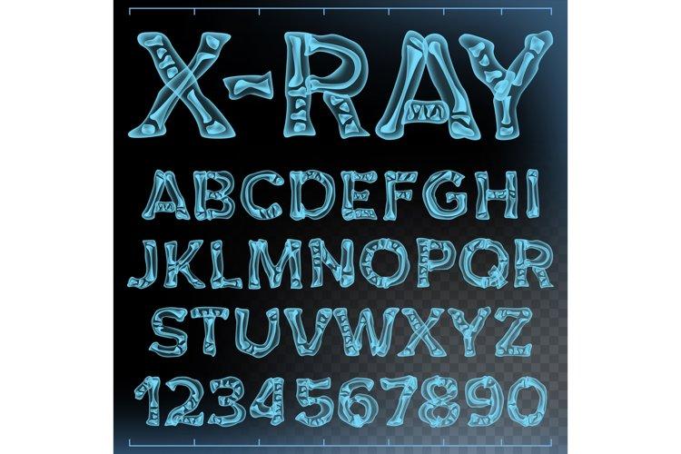X-ray Font Vector. Transparent Roentgen Alphabet. Radiology