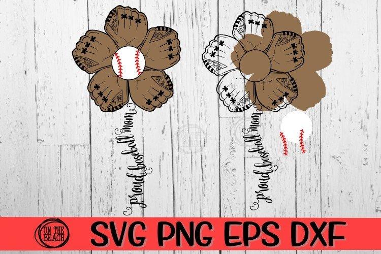 Baseball Mom - Flower Mitt - SVG - DXF - EPS - PNG
