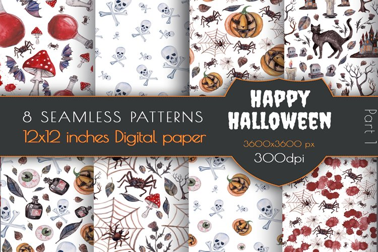 Watercolor Happy Halloween seamless patterns. Candy Pumpkins example image 1