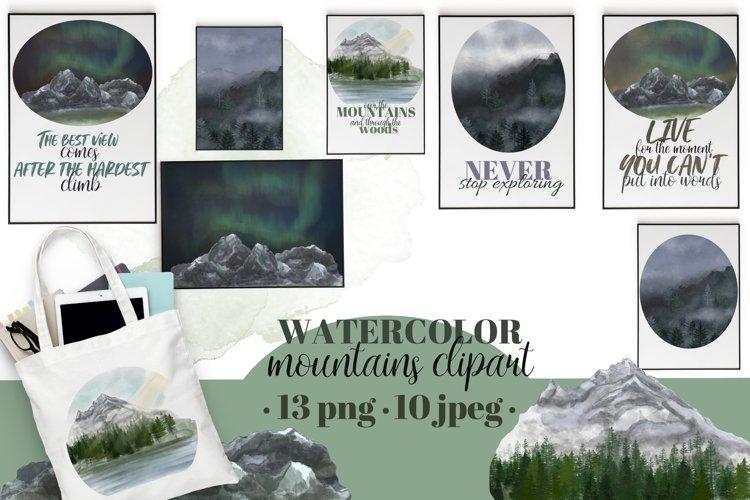 Mountains clipart&landscapes set. Aurora borelias.Watercolor