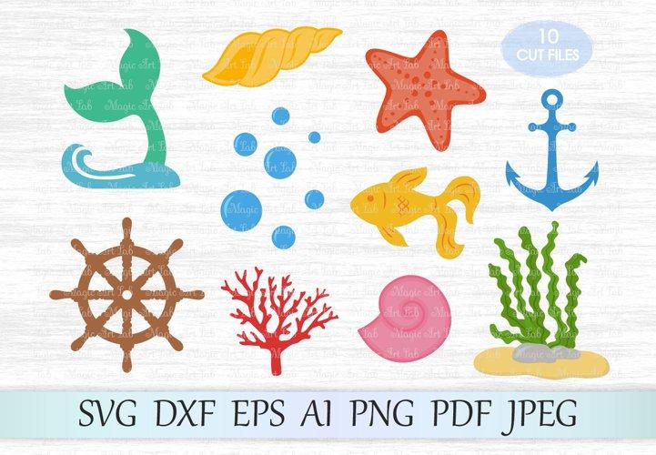 Under the sea svg file, Uderwater bundle svg, Handwheel svg, Bubbles svg, Sea clipart, Seaweed svg, Fish svg, Coral cut file, Starfish svg