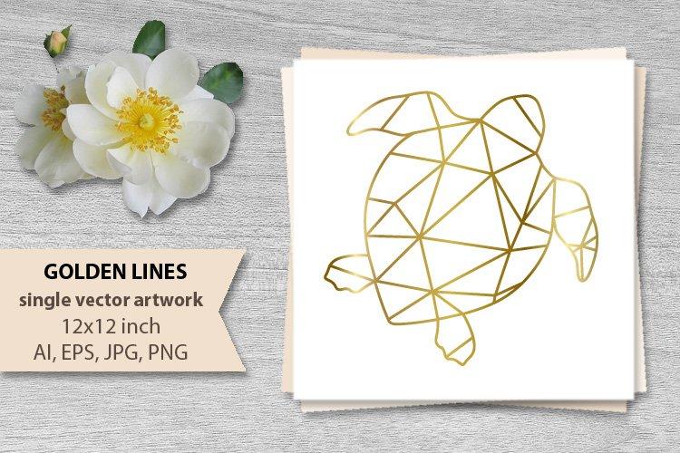 GOLDEN LINES SEA TURTLE- single vector artwork example image 1