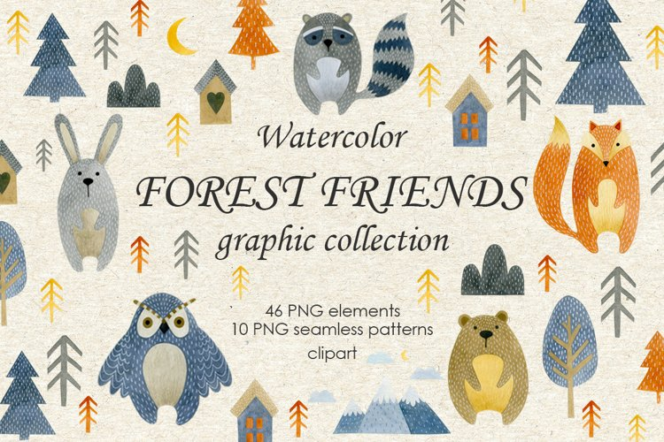 Watercolor forest friends graphic collection. example image 1