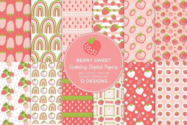 Strawberry Digital Paper Seamless example image 1