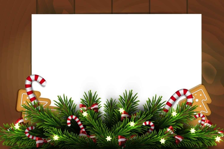 Christmas template with wooden background and paper example image 1