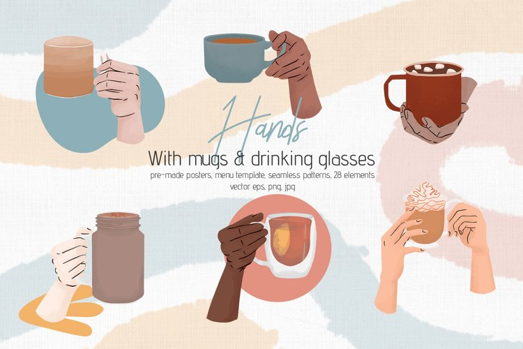 Hands with Mugs & Drinking Glasses