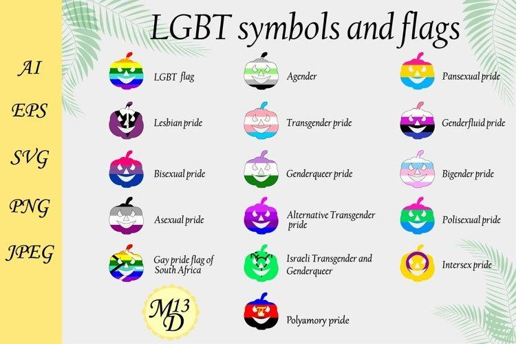 16 PRIDE. Rainbow LGBT flags and symbols. 16 pumpkin symbol