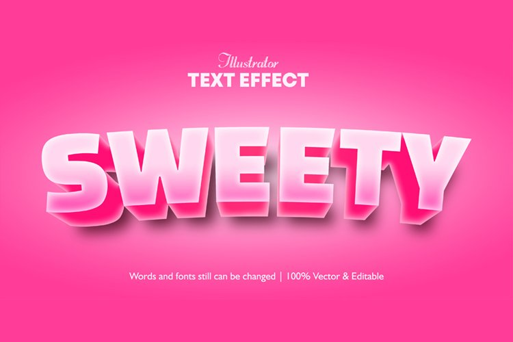 Pink Color Editable Illustrator 3d Text effect
