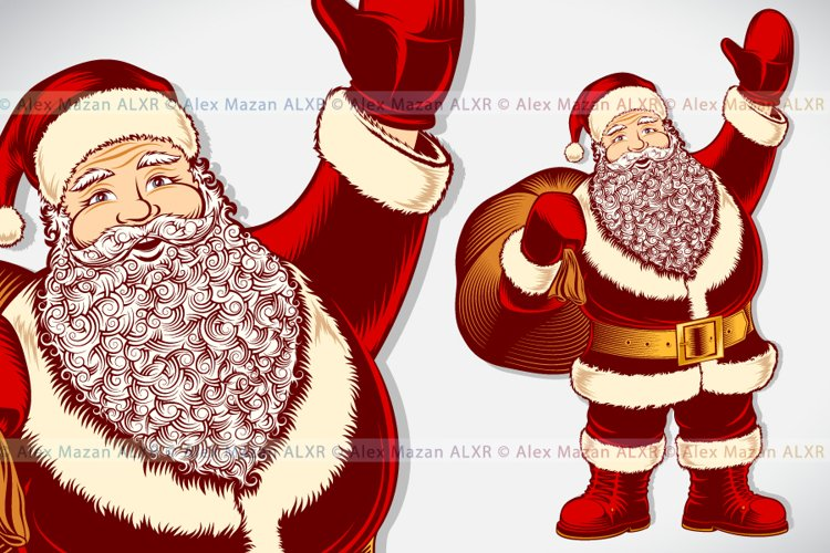 Vector Santa Claus Cartoon Character Vintage Drawing Pop Art