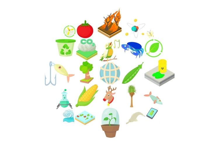 Vegetables icons set, cartoon style example image 1