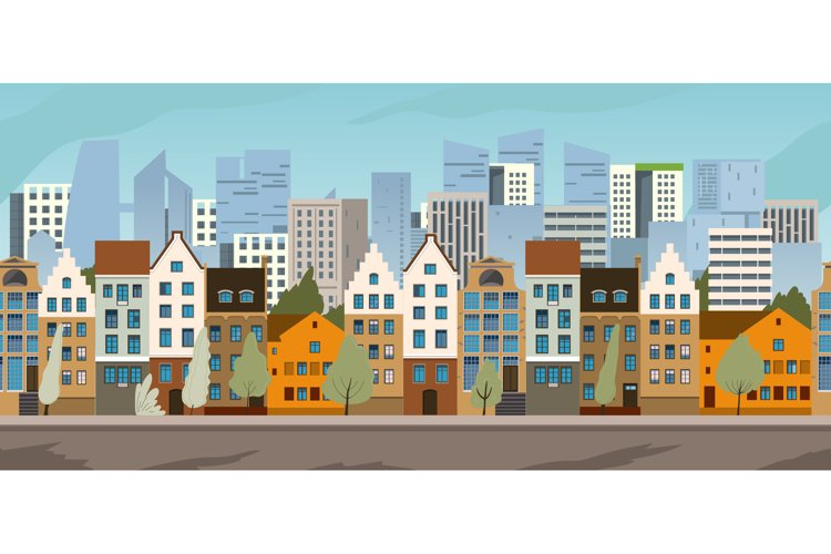 Old city street panoramic city landscape. example image 1