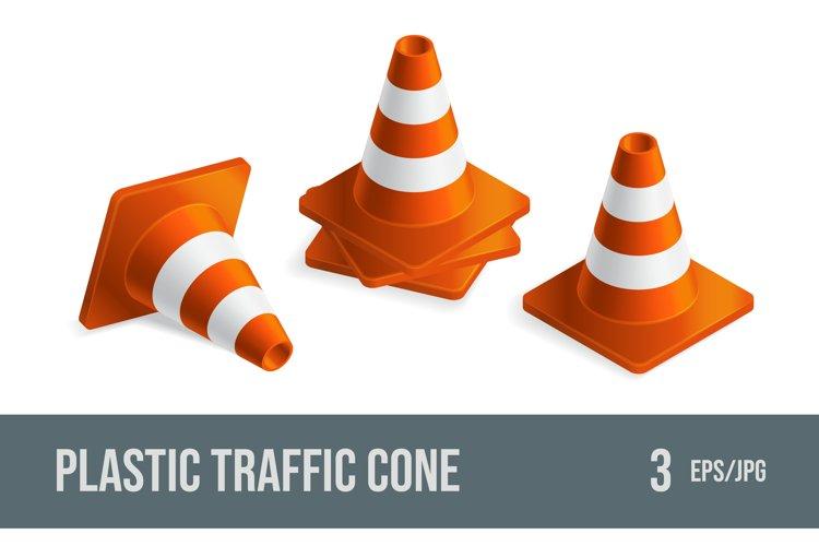 Set of vector illustrations orange plastic traffic cones.
