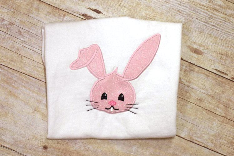 Easter Bunny Face Applique Embroidery Design example image 1