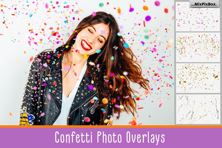 Confetti overlays  PS brushes example image 1