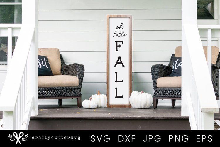 Fall Svg Cut File |Hello Fall Autumn Quote Porch Sign example image 1