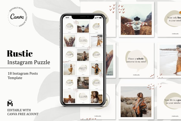 Rustic PUZZLE TEMPLATE for Instagram - Editable with Canva