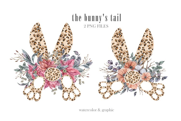 Watercolor leopard bunnys tail clipart. Easter wreath png example image 1