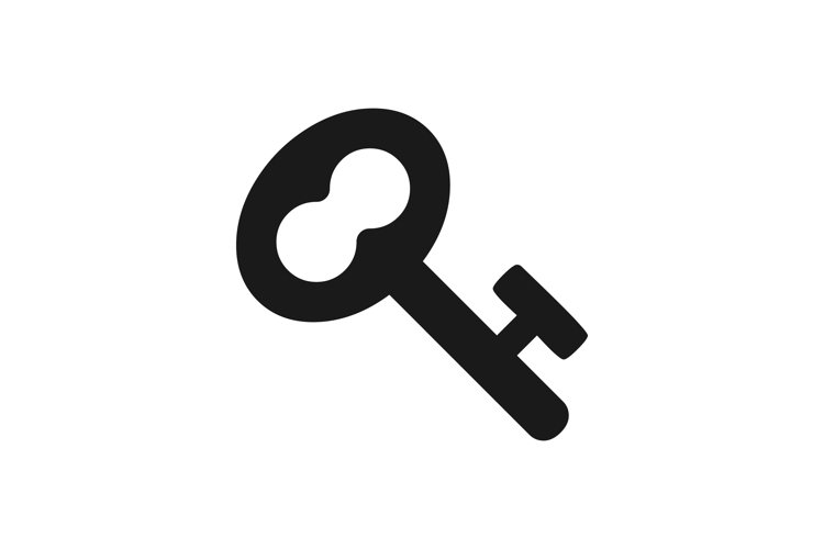 Key vector icon. Lock key black symbol isolated