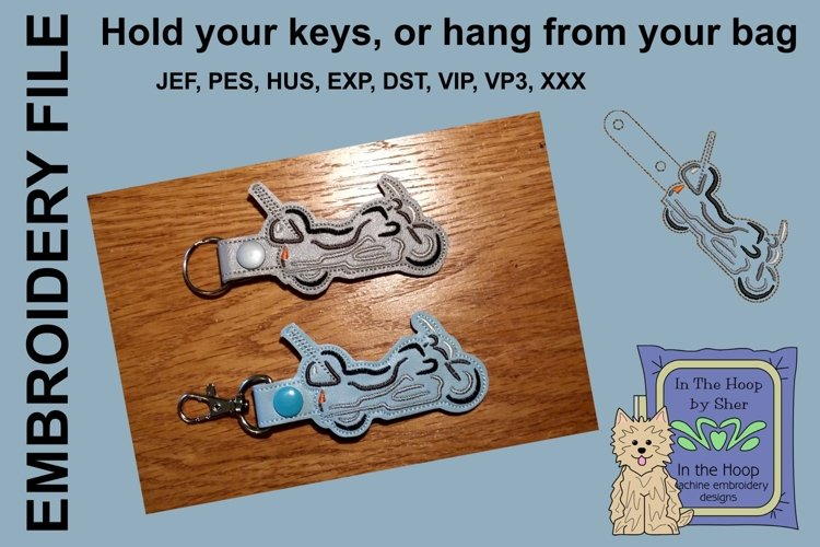 ITH Luxury Motorcycle Key Fob - Embroidery Design example image 1