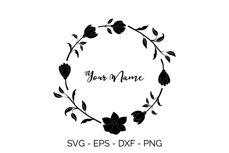 beautiful flowers wreath svg example image 1
