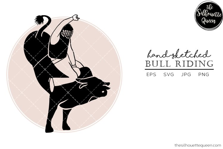 Hand drawn Bull Riding Vector Sketch example image 1