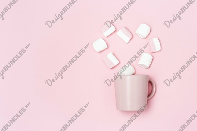 Pink mug and heart from marshmallows, declaration of love example image 1