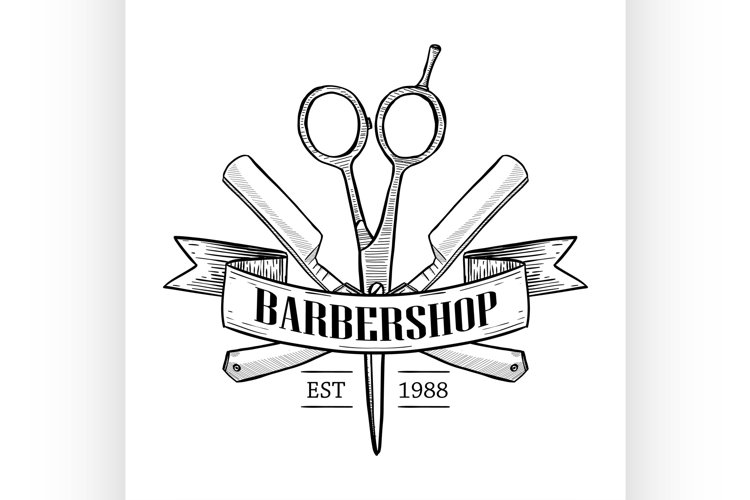 Barbershop logo with scissors example image 1