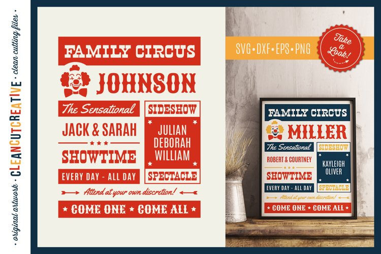 Funny FAMILY CIRCUS svg - vector family template vintage eps