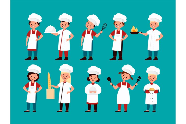 Chef kids. Happy gourmet children cook delicious food on kit example image 1