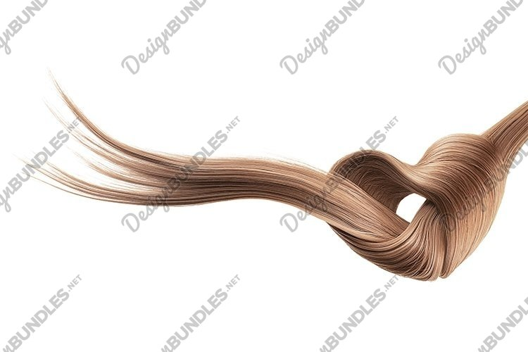 Brown hair knot in shape of heart, isolated