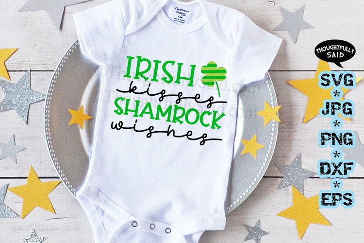 Irish Kisses Shamrock Wishes SVG JPG PNG DXF EPS files example image 1