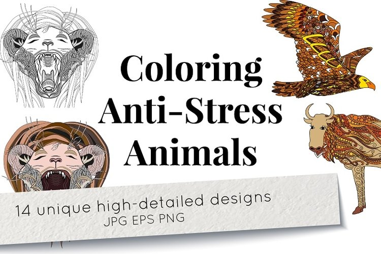Coloring Anti-Stress animals example image 1