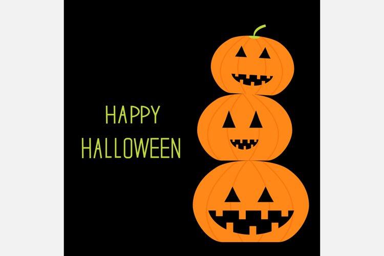Three funny pumpkins. Happy Halloween. example image 1