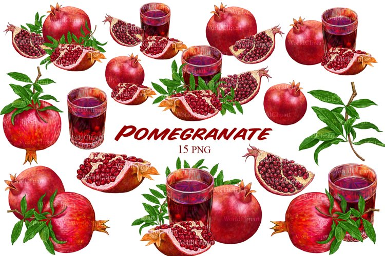 Pomegranate clipart, Fruit clipart, Food clipart